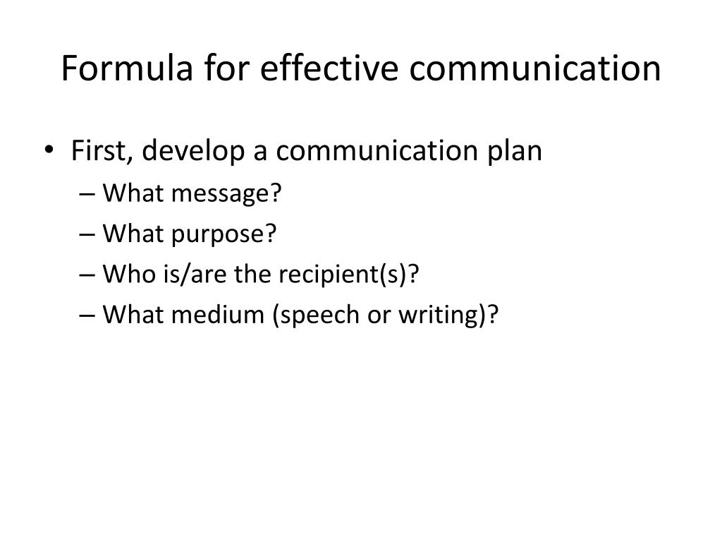 Formula for effective communication
