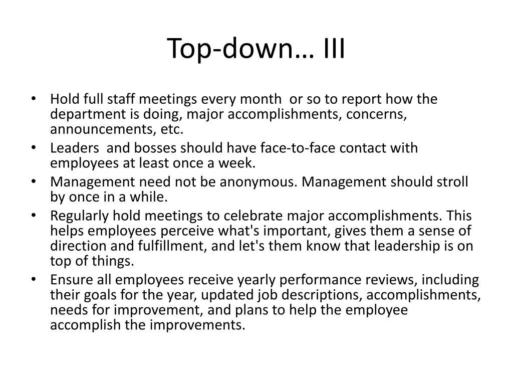 Top-down… III