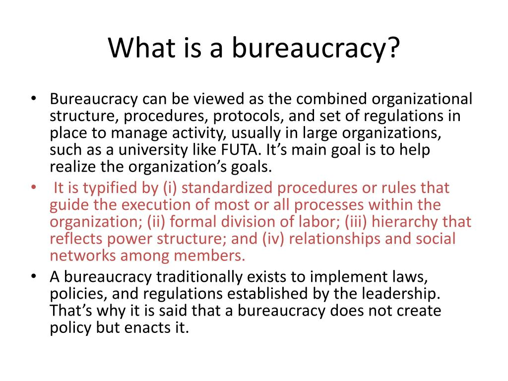 What is a bureaucracy?