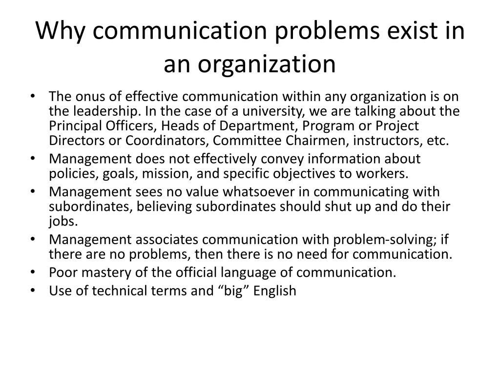 Why communication problems exist in an organization