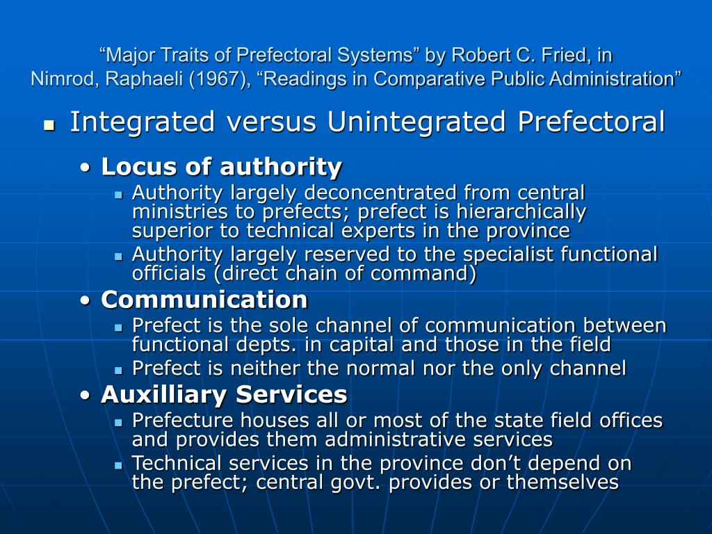 """Major Traits of Prefectoral Systems"" by Robert C. Fried, in"