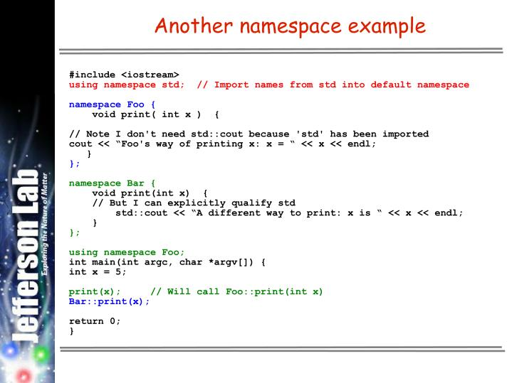 Another namespace example
