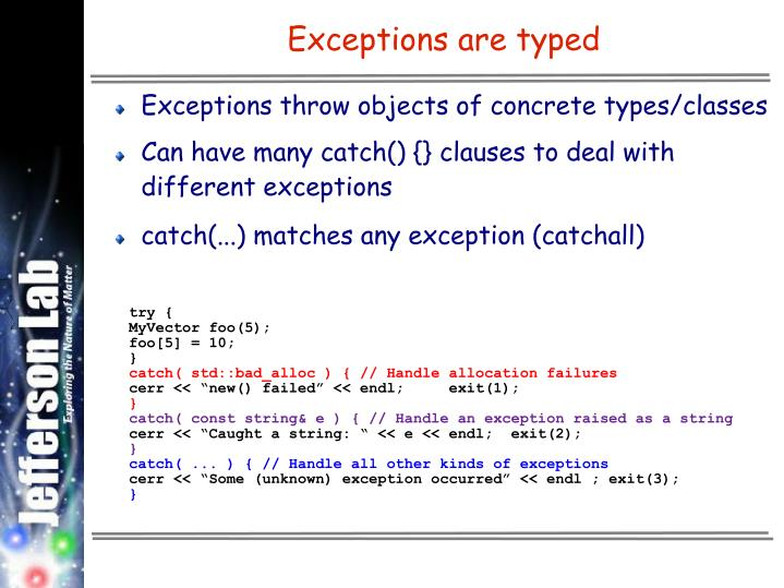 Exceptions are typed