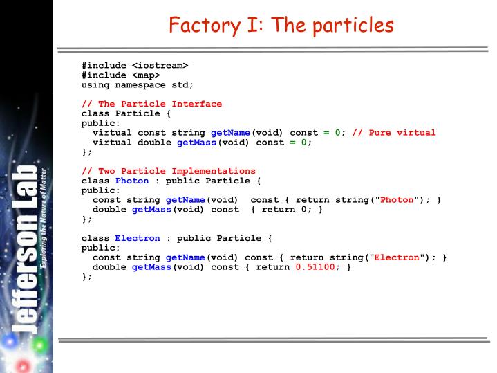 Factory I: The particles