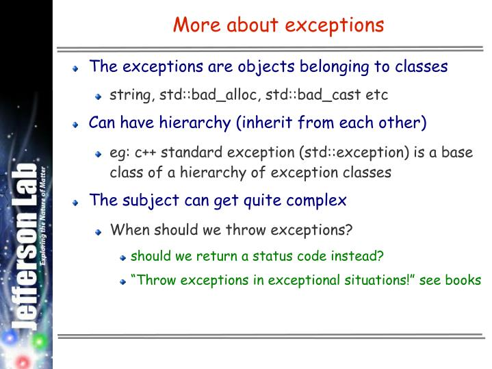 More about exceptions