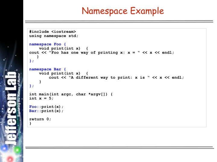 Namespace Example