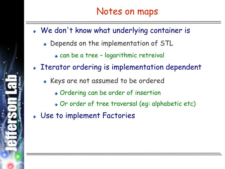 Notes on maps