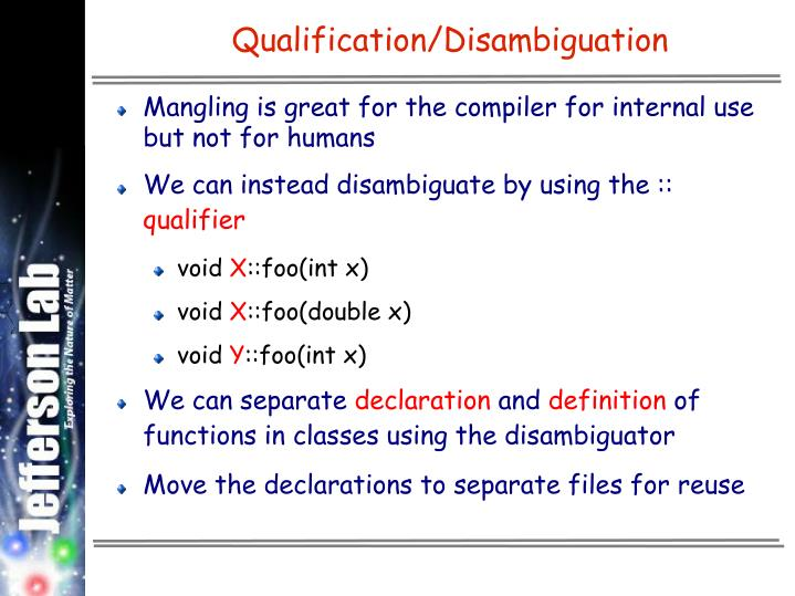 Qualification/Disambiguation