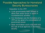 possible approaches for homeland security bureaucracies30