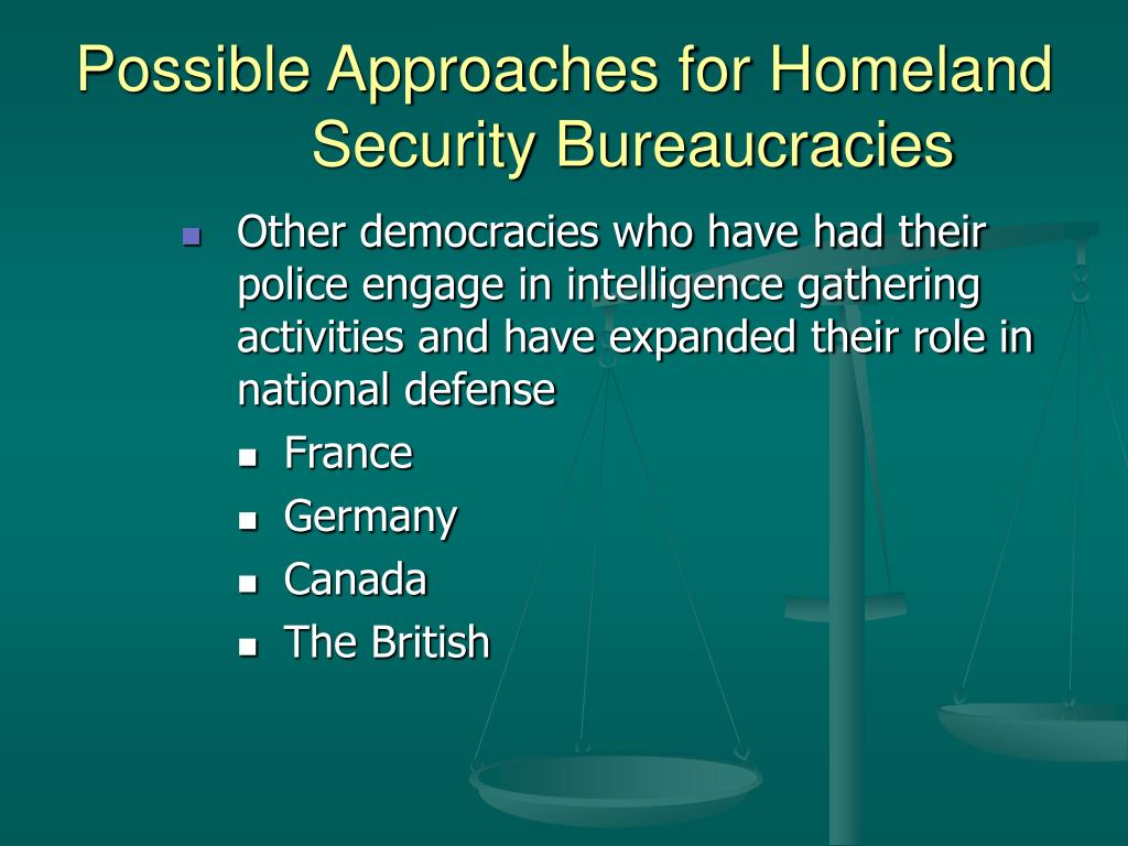 Possible Approaches for Homeland Security Bureaucracies