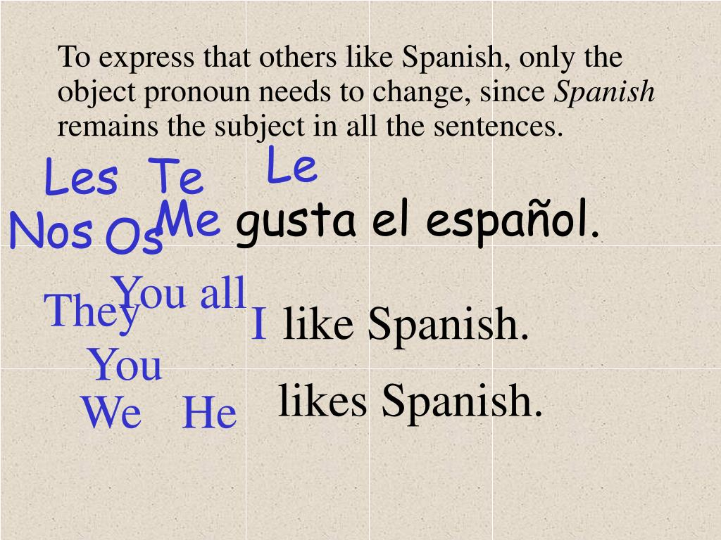 To express that others like Spanish, only the object pronoun needs to change, since