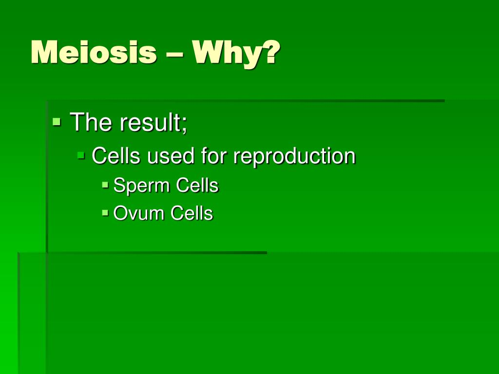 Meiosis – Why?