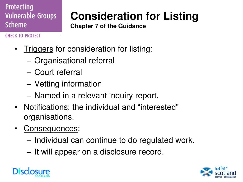 Consideration for Listing