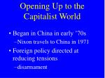 opening up to the capitalist world