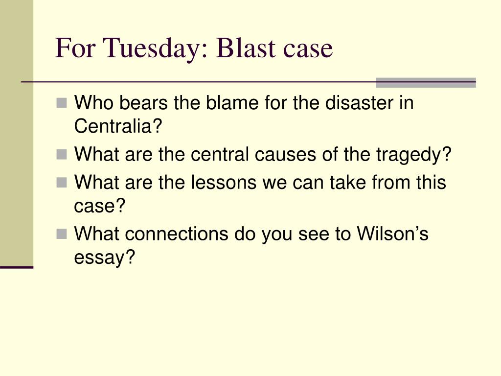 For Tuesday: Blast case