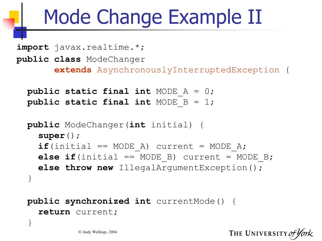 Mode Change Example II