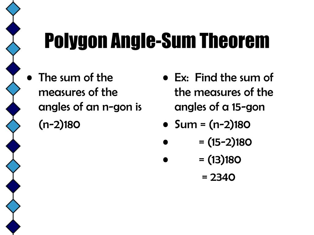 The sum of the measures of the angles of an n-gon is