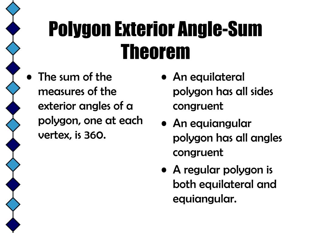 The sum of the measures of the exterior angles of a polygon, one at each vertex, is 360.