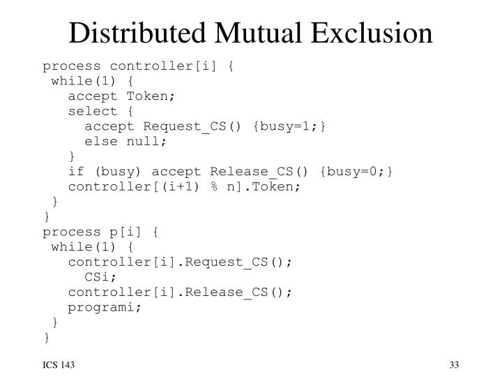 Distributed Mutual Exclusion