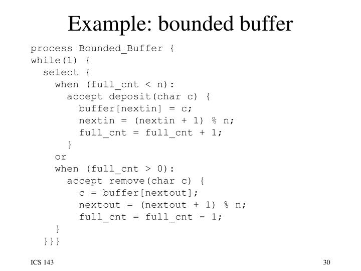 Example: bounded buffer