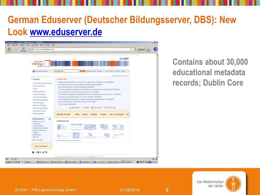 German Eduserver (Deutscher Bildungsserver, DBS): New Look