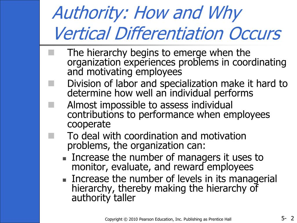Authority: How and Why Vertical Differentiation Occurs