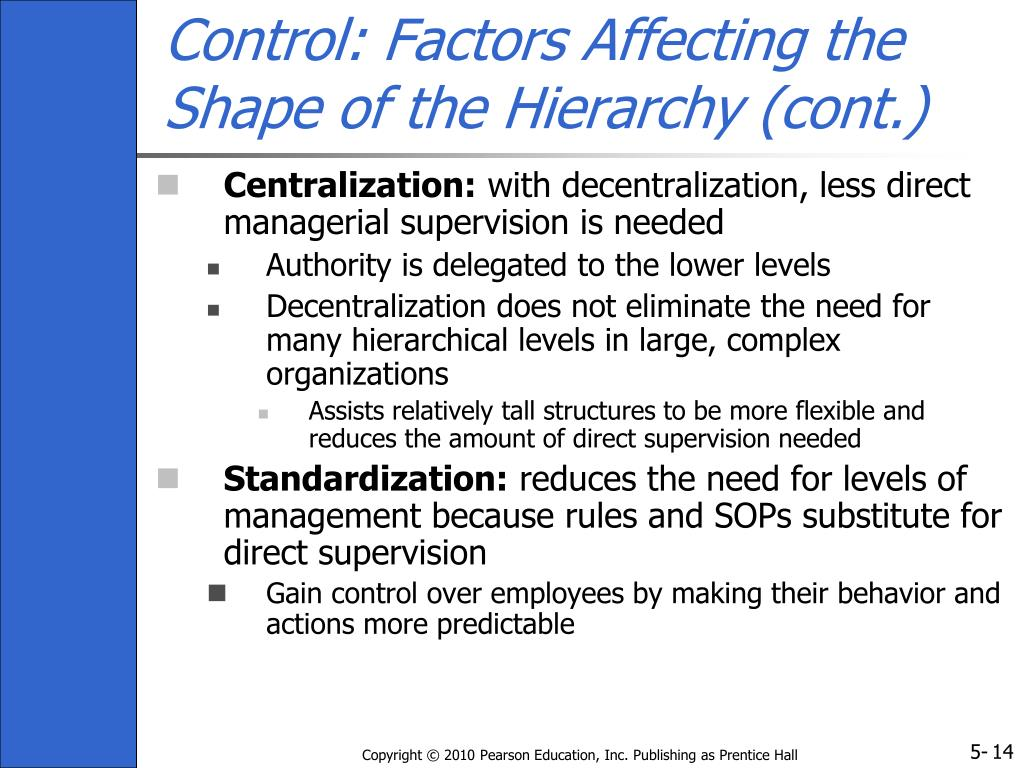 Control: Factors Affecting the Shape of the Hierarchy (cont.)