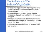 the influence of the informal organization