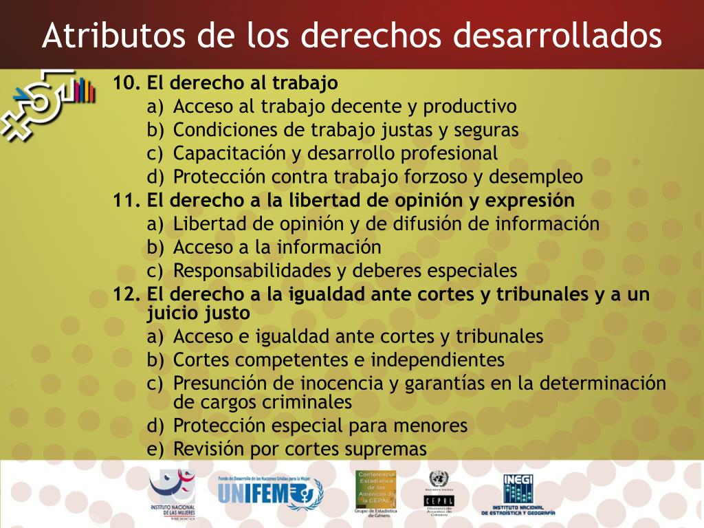 Atributos de los derechos desarrollados
