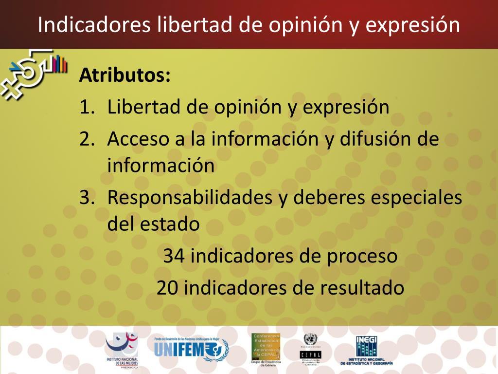 Indicadores libertad de opinión y expresión