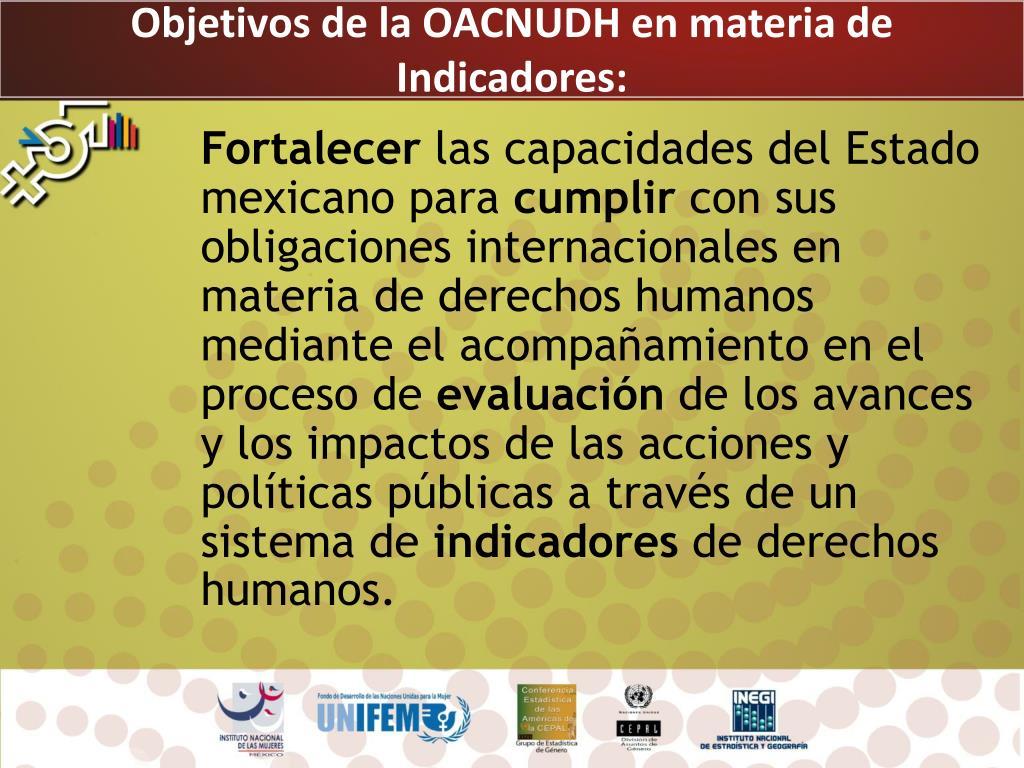 Objetivos de la OACNUDH en materia de Indicadores: