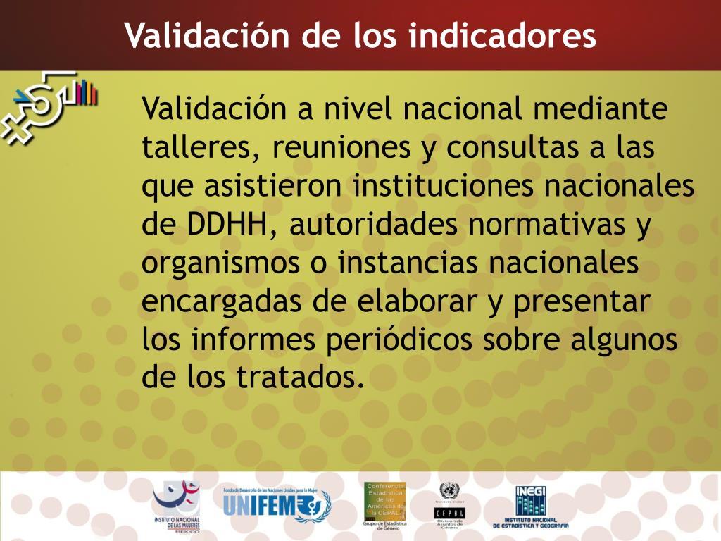 Validación de los indicadores