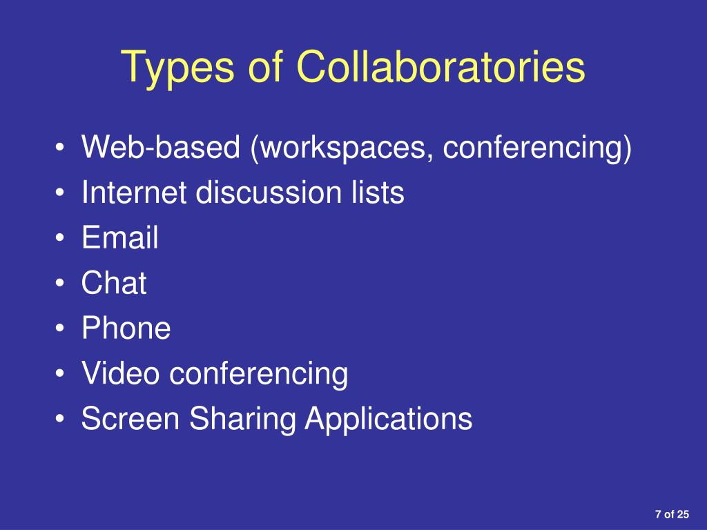 Types of Collaboratories