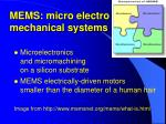 mems micro electro mechanical systems