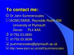 to contact me