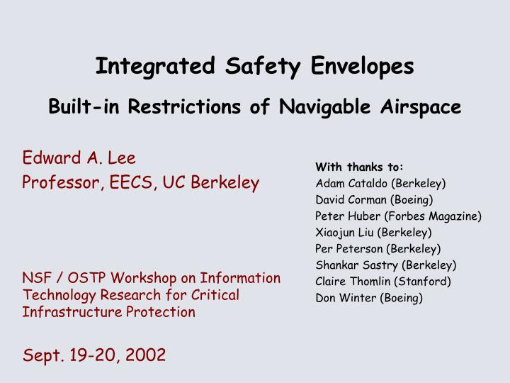 Integrated safety envelopes built in restrictions of navigable airspace