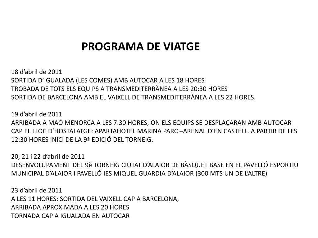 PROGRAMA DE VIATGE