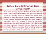 critical care certification from virtual health