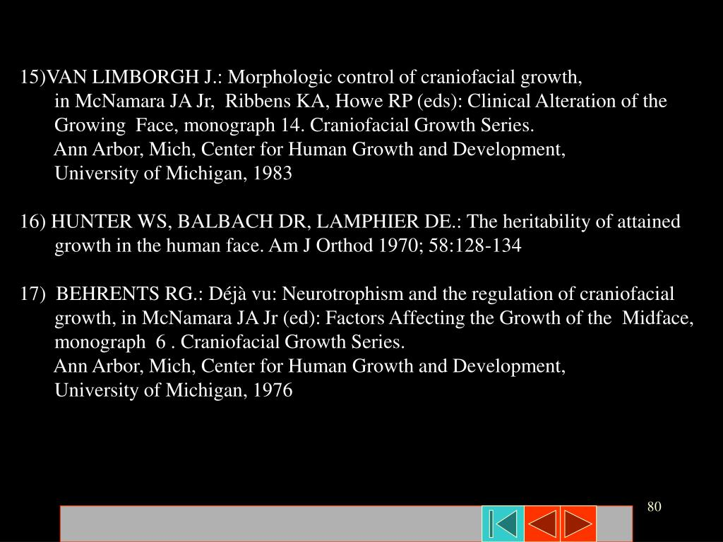 15)VAN LIMBORGH J.: Morphologic control of craniofacial growth,