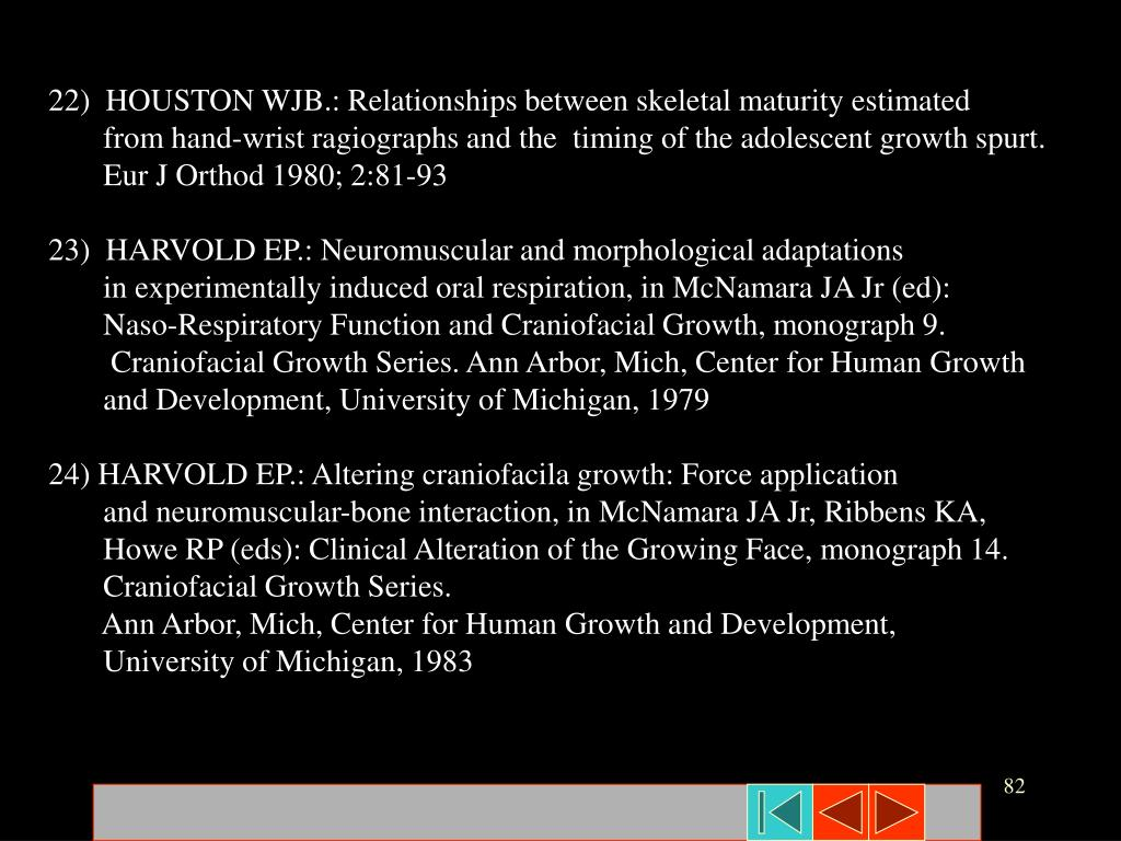22)  HOUSTON WJB.: Relationships between skeletal maturity estimated