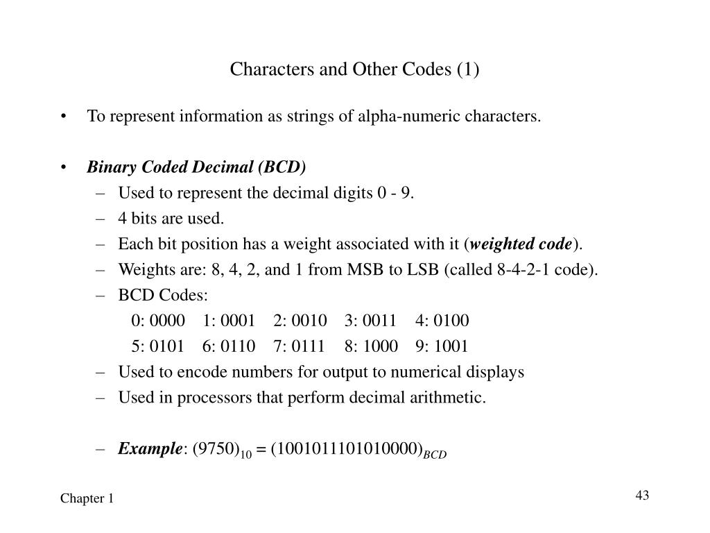 Characters and Other Codes (1)