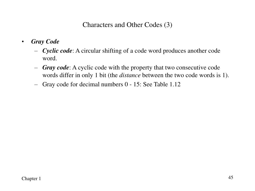 Characters and Other Codes (3)