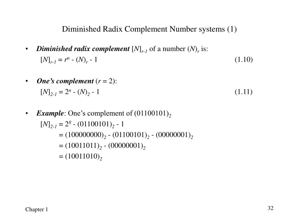 Diminished Radix Complement Number systems (1)