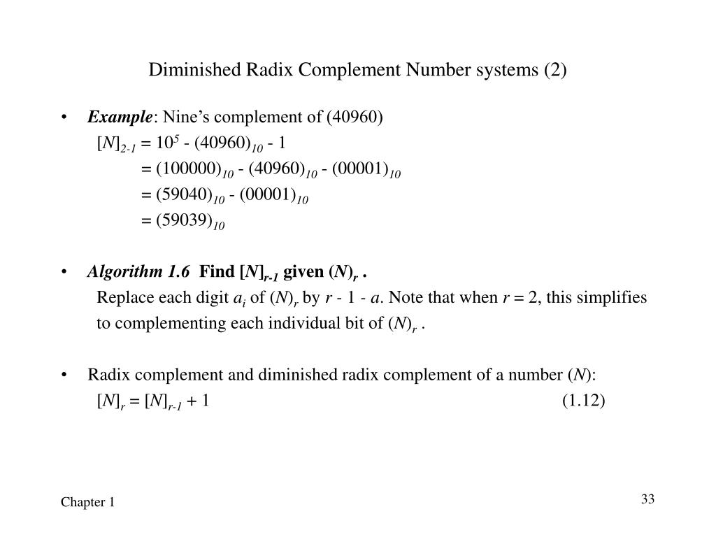 Diminished Radix Complement Number systems (2)