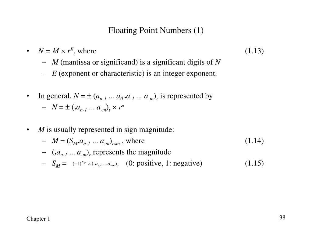 Floating Point Numbers (1)