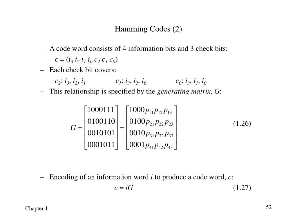 Hamming Codes (2)