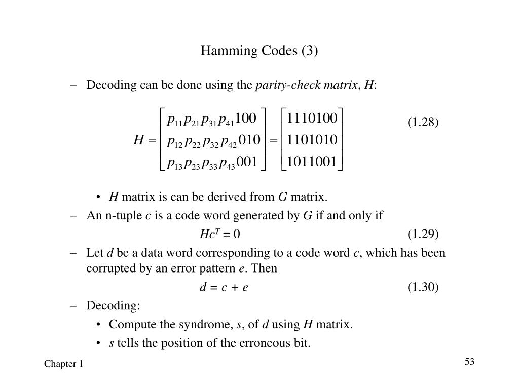 Hamming Codes (3)