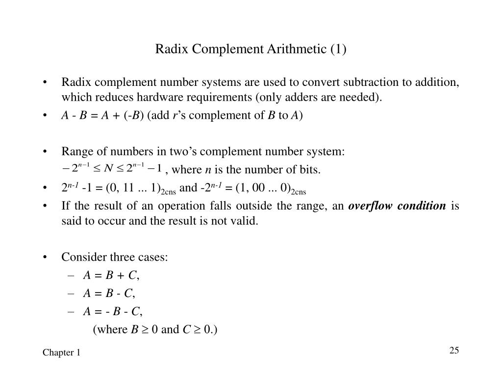 Radix Complement Arithmetic (1)