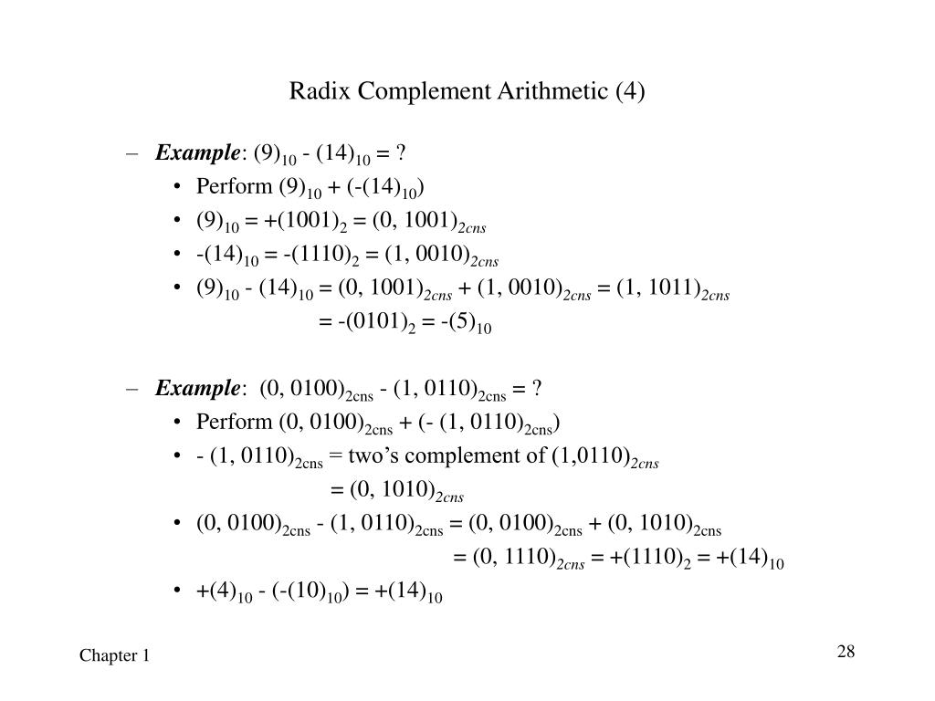 Radix Complement Arithmetic (4)