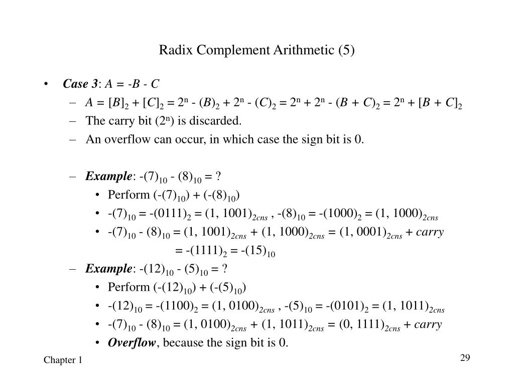 Radix Complement Arithmetic (5)